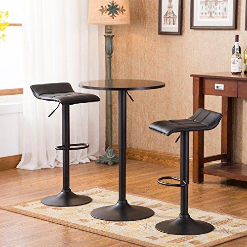Roundhill Furniture Belham Black Round Top Adjustable Height bar Table & 2 Swivel Black Bonded Leather Adjustable bar Stool bar Sets Black Round Top Stool