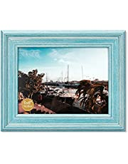 HOMESEVEN Wooden Picture Frames Rustic Picture Frames 100% Solid Wood Photo Frames with HD Real Glass for Wall or Tabletop Decor for Home Gifts