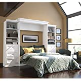 Queen Wall Bed and Storage Units with Drawers in White