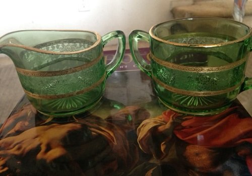 Tiffin Green Glass - Tiffin Vintage Green Glass Creamer and Sugar Bowls