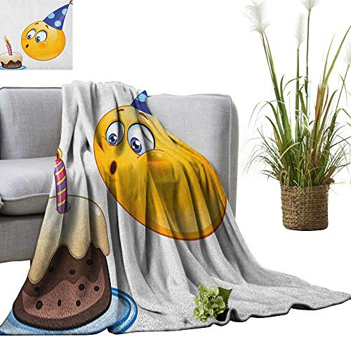 Superlucky Kids Birthday Throw Blanket Happy Emoji Face Celebration with Cone Hat Blowing Party Cake Print 36