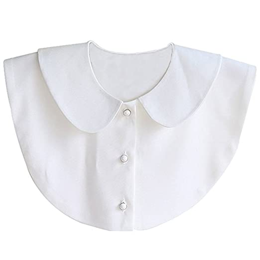 8e7941543e Image Unavailable. Image not available for. Color  AISHNE Women s Peter Pan  Pearl Button Detachable Shirt Collar Fake Collar White