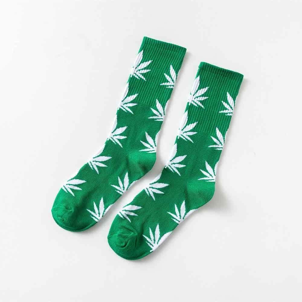 LJSDLSN Moda 5 Pares De Calcetines De Algodón Cómodos Hojas De Arce De Cannabis Hojas De Arce Calcetines Largos Casuales De Marihuana Primavera Y Otoño
