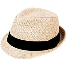 AshopZ Women Men Summer Double Colors Straw Fedora Hat w/ Rasta Band