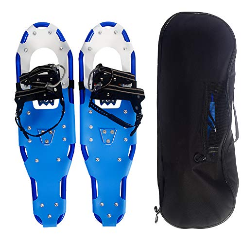 Mounchain Snowshoes 1 Pair, Adjustable Ratchet Lightweight Aluminum Alloy Anti-Shock Snowshoes Free Carrying Tote Bag