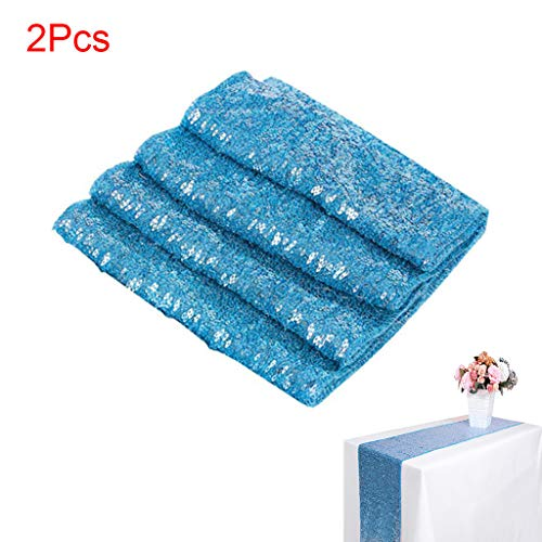SAQIMA 30x275cm Sofa Couch Cover Table Runner Sequin Satin Glitter Wedding Party Banquet Venue Decor Home Bedroom Decoration (Light Blue) ()