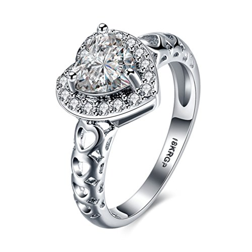 FENDINA Womens Stainless Steel Open Heart Eternity Ring 18K White Gold Plated Simulated Diamond Anniversary Solitaire Ring