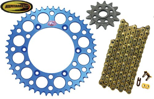 - Chain and Sprocket with Keepitroostin Sticker Fits Yz125 2005-2013 Yz250f 2001-2013 (13 front sprocket 50 rear sprocket, Blue)