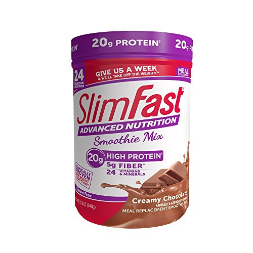 SlimFast Advanced Nutrition Creamy Chocolate Smoothie Mix - Weight Loss Meal Replacement - 20g of protein - 22.8 oz. Canister - 24 servings (Lose 30 Pounds In 6 Weeks Meal Plan)