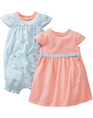 Baby Girls' 2 Piece Dress and Print Romper (Baby)