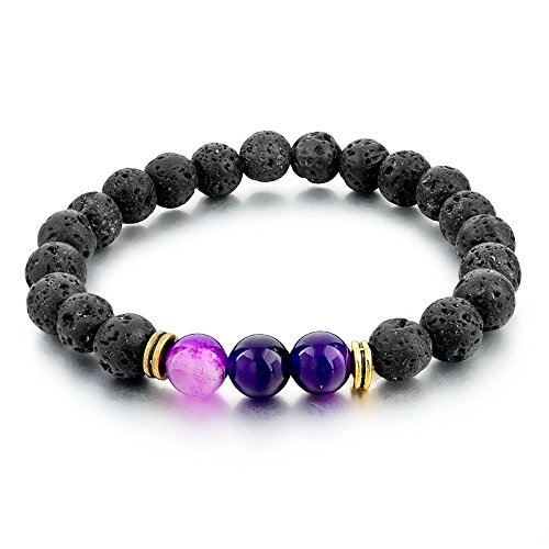 Mystiqs Lava Rock Beaded Bracelet Essential Oil Diffuser for Men,Women Aromatherapy Ideal for Anti-Stress or Anti-Anxiety