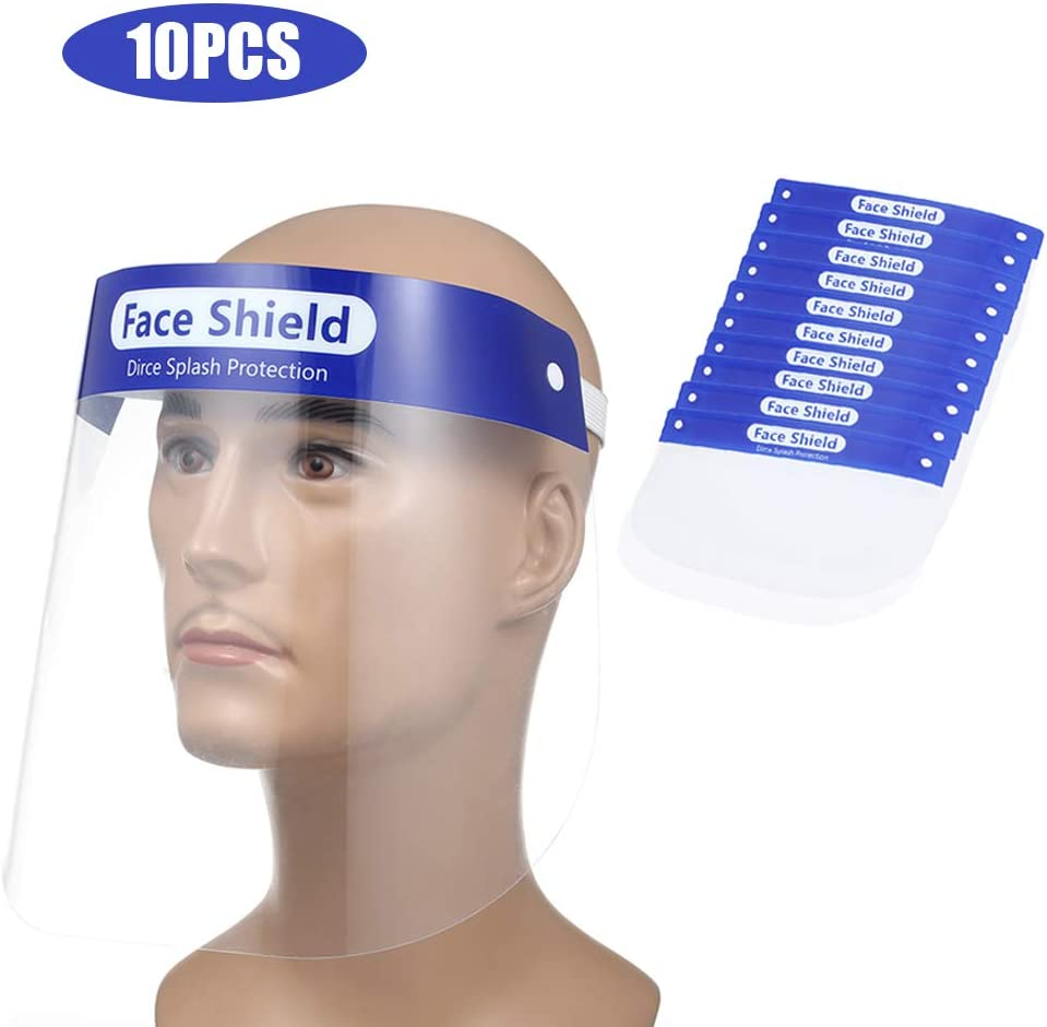 Decdeal 10 Piezas de Visor de Seguridad de plástico Transparente, protección Facial, Cubierta antiniebla Protectora antisaliva, a Prueba de Polvo y Goteo