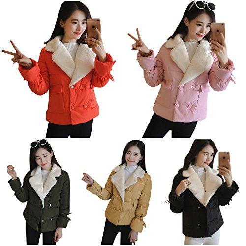 Bigood Down Puffer Outwear Pure Korean Lapel Women's Short Coat Color Green Lady Style Army zqPr0zw