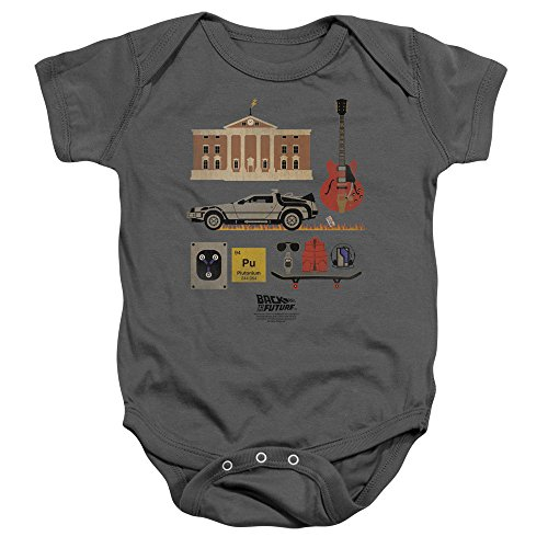 Back To The Future Toddler Items Onesie, 6 Months, Charcoal - Back Onesie