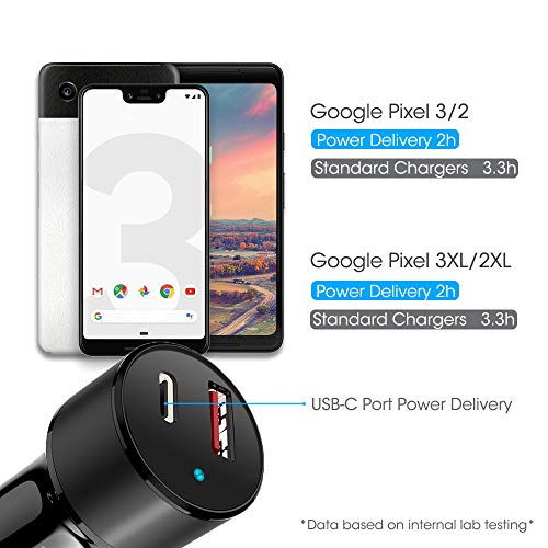 noot products Car Charger for Google Pixel/Pixel XL/4/4XL//3a/3a XL/2/2XL/3/3XL-36W PD 3.0 and Quick Charge 3.0 2-Port USB Adapter with Braided 6ft USB Type C to C Fast Charging Cable Cord