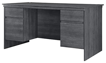 Wood Desk With Cable Management   Rectangular Desk With Drawers   Weathered  Oak