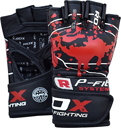 (RDX MMA Gloves Sparring Martial Arts Cowhide Leather Grappling Training UFC Cage Fighting Combat Punching Bag Gel Mitts)