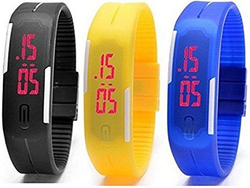Pappi Boss Unisex Silicone Set of 3 Jelly Slim Digital Led Bracelet Band Led Watch for Boys & Girls