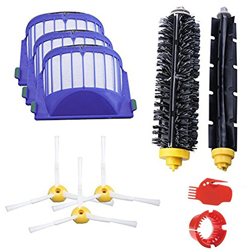 Accessory for iRobot Roomba 600 610 620 630 645 650 655 660 680 Series Vacuum Cleaner Replacement Kit Replenishment iRobot Parts Set Filter Side Brush Bristle Brush Flexible Beater Brush Cleaning Tool by hothuimin