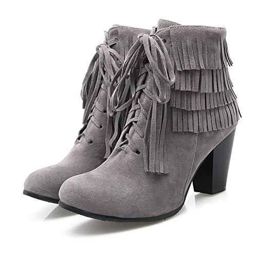 Winter und High Heels Herbst und HCBYJ Stiefel Mode Stiefeletten Fersen Dicke Damen gSqCIgx