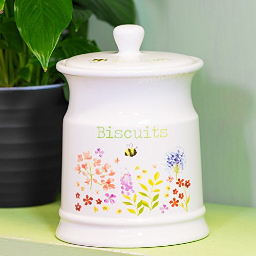 Cream Floral Bumble Bee Ceramic Biscuit Barrel ProdBuy Limited