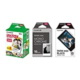 Fujifilm Instax Mini Instant Film 3-PACK BUNDLE SET , Twin Pack ( 20 ) + Monochrome ( 10 ) + Black Frame ( 10 ) 90 8 70 7s 50s 25 300 Camera SP-1 Printer