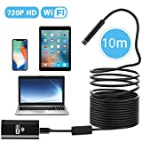 WIFI Inspection Camera, PEYOU 33 ft/10M IP67 Waterproof Wireless Borescope WIFI Endoscope with 2 Megapixels HD Camera & 8 Adjustable LED Lights & Flexible Semi-rigid Cable, Snake Inspection Camera/Video for IOS & Android & Windows System Compatible For iPhone & iPad, Samsung Phone & Tablet, PC and More