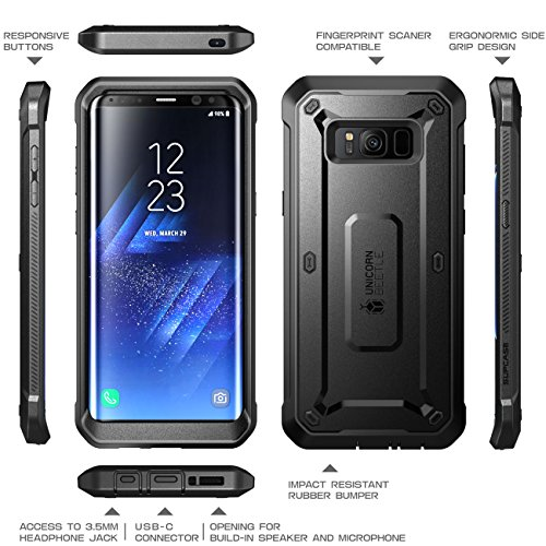 SUPCASE Galaxy S8 Case Full-body Rugged Holster Case WITHOUT Screen Protector for Galaxy S8 (2017 Release), Unicorn Beetle PRO Series - Retail Package (Black/Black) by SUPCASE (Image #2)