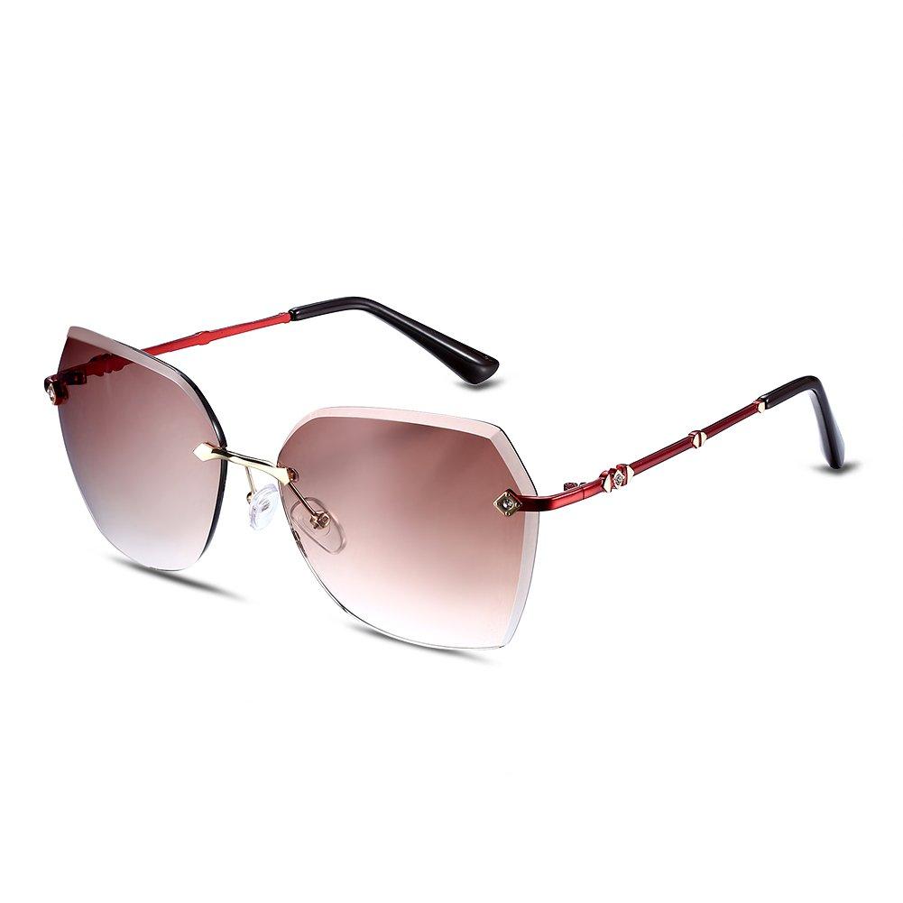 NYKKOLA Fashion gafas de sol polarizadas lentes sin montura gafas para mujeres gafas de protección U...