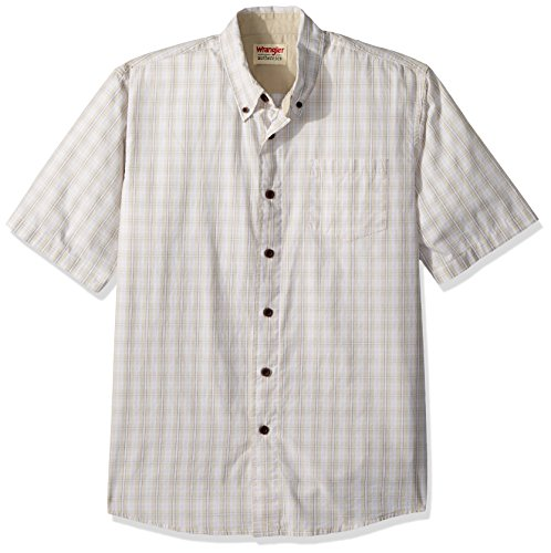 Wrangler Authentics Men's Short Sleeve Plaid Woven Shirt, Drizzle, 2XL (Pocket Plaid Sport Shirt)