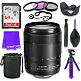 Canon EF-S 18-135mm f/3.5-5.6 IS USM Lens (White Box, Bulk Packaging) for Canon DSLR Cameras & SanDisk 64GB Class 10 Memory Card + Complete Accessory Kit (11 Items)