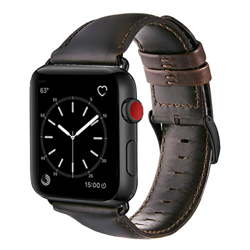 For Apple Watch Band 42mm, OUHENG Retro Vintage Genuine Leather iWatch Strap Replacement for Apple Watch Series 3 Series 2 Series 1, Dark Brown with Black Adapter