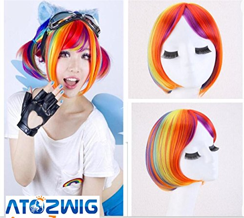 Straight Rainbow Synthetic Halloween Multicolor