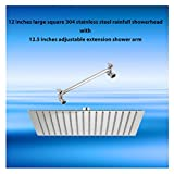 "12 inches 304 stainless steel large square rainfall showerhead with 12.5 inches adjustable extension shower arm (12"" Square showerhead with extension arm)"