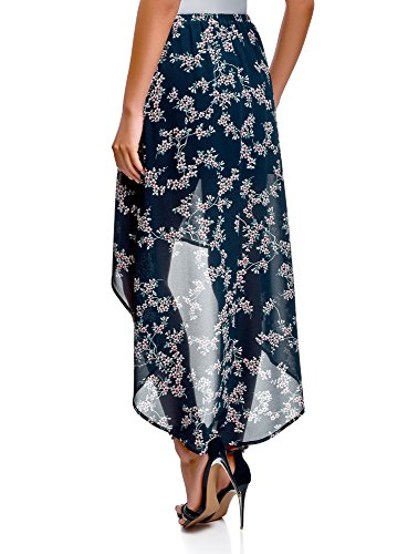 Bleu Asymtrique Mousseline Femme en Jupe oodji Bas 7940f Ultra avec a0Fqwc8n