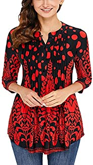 Vrapo - Blusa casual para mujer, manga 3/4 con botones plisados en la parte delantera y cuello en V estampada