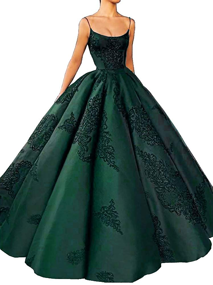 Emerald Green M Bridal Women's Long Embroidery Spaghetti Straps Quinceanera Dresses Ball Gowns