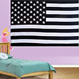 Bless-International(TM) Indian American Flag Black & White Hippie Ethnic Bohemian Pyschedlic Handmade Tapestry with Exclusive Bestseller eBook