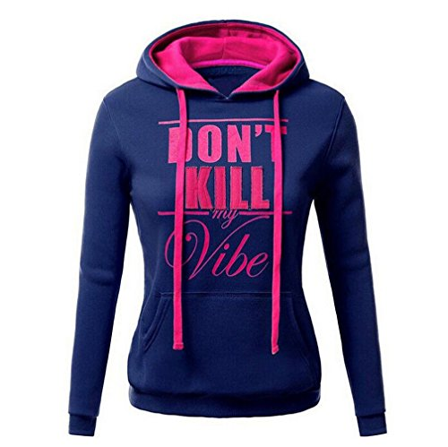 Womens Don't Kill My Vibe Letter Print Hoodies Tops Casual Long Sleeve Pocket Drawstring Pullover Sweatshirts With Pocket (XL, blue)
