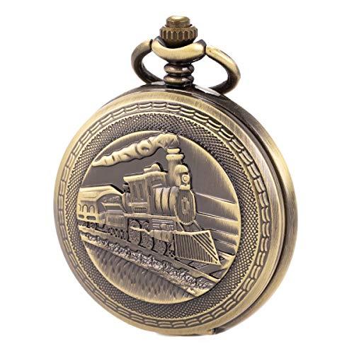 Pocket Watch Automatic Mechanical with Chain Antique Men SIBOSUN 3D Locomotive Steam Train Railroad - Anniversary Train