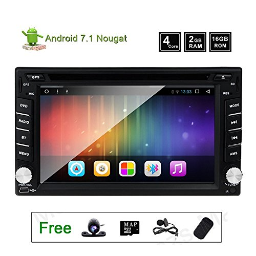 GPS Radio DVD Player for Nissan Murano Versa 350z Frontier Sentra Patrol Navara Qashqai 2 Din Android 7.1 Car Stereo Navigation with WIFI and Bluetooth QUAD CORE 2GB 16GB 6.2 (Nissan Stereo)