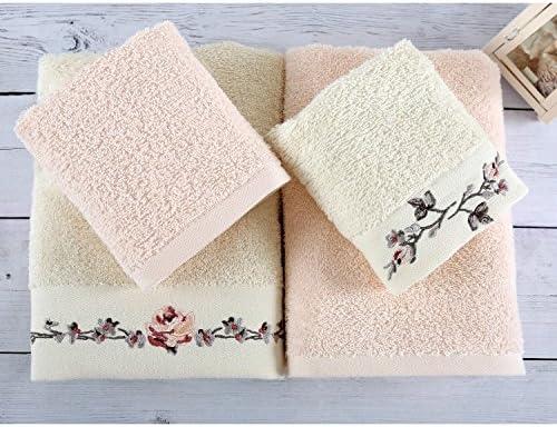 Serra Home Hotel & - Juego de toallas de mano de algodón turco de 4 cabezas bordadas, suave y lavable a máquina, lujosa toalla de baño