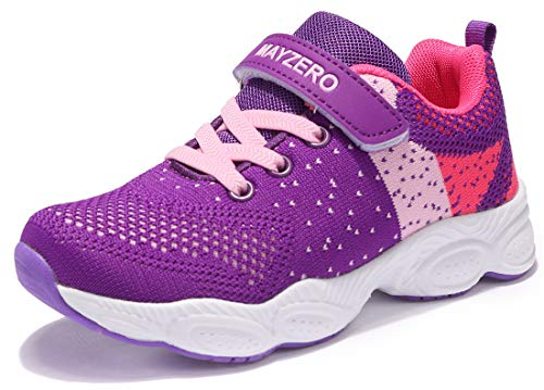 Vivay Grils Sneakers Lightweight Athletic Sports Running Shoes Breathable Tennis Shoes (1# Purple,Size 11 Little Kid)