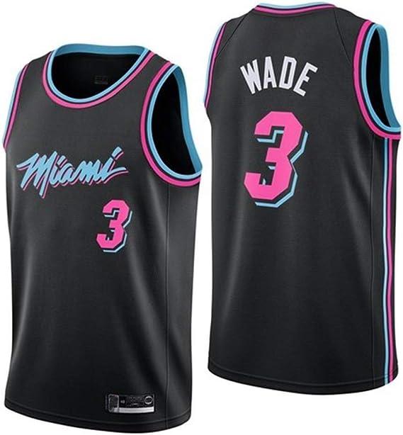 Shelfin - Camiseta de baloncesto de la NBA de Miami Heat del número 3 Wade, transpirable, grabada, color Negro D, tamaño Small: Amazon.es: Hogar