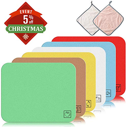 Flexible Mats Chopping Set (Plastic Cutting Mat Set - CYKELAR Thin & Large Cutting Board Mats 6 Colors - Non-Toxic, Flexible for Chopping Vegetables, Beef, Fish, Chicken - FDA Approved with Food Icons + 2 PC Hanging Towels)