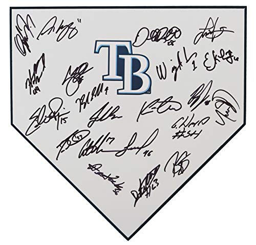 (Tampa Bay Rays 2019 Team Signed Autographed Baseball Home Plate - 21 Autographs - Snell Meadows Choi)