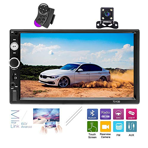 Hikity Double Din Car Stereo Radio 7 Inch HD Car Audio Bluetooth FM Radio USB Support iOS Android Phone Mirror Link with USB/AUX-in/SD Card Port + Backup Camera & Steering Wheel Remote Control