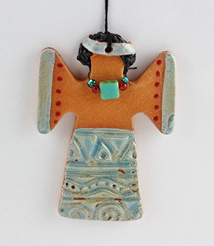 - Terra Cotta Clay Angel Ornament with Beaded Necklace, Handmade by Karlene Voepel
