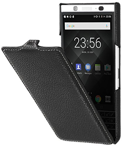 Black Blackberry Leather Folio (StilGut Genuine Leather Flip Case for BlackBerry KEYone, UltraSlim Cover with Clasp and Sleep/Wake Function, Black)