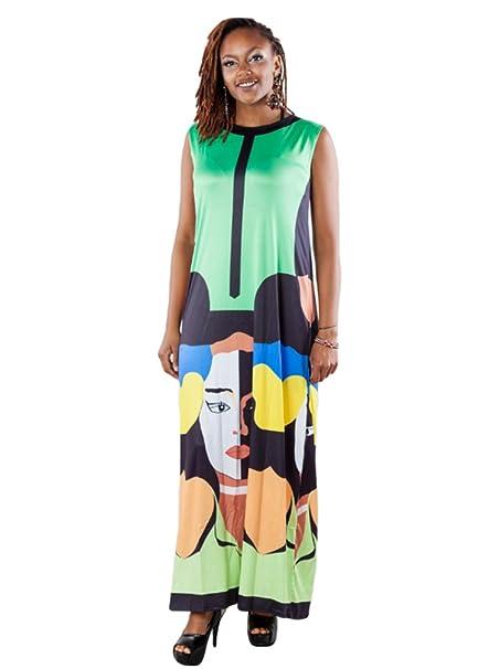 CHENGYANG Mujer Casual Multicolor Sin Mangas Suelto Impresión de Patrones Largo Maxi Vestido (Verde,